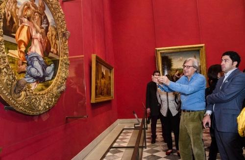 Visita Vittorio Sgarbi al Museo degli Uffizi con Salvo Nugnes - Firenze (5)